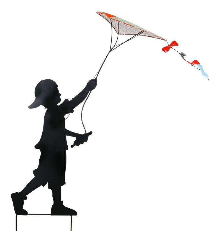 太陽光充電 LEDソーラーパワー 少年 ガーデンライト オーナメント Alpine Corporation Solar Boy Silhouette Flying Kite Decor with LED Lights - Outdoor Yard Art Decor - 33