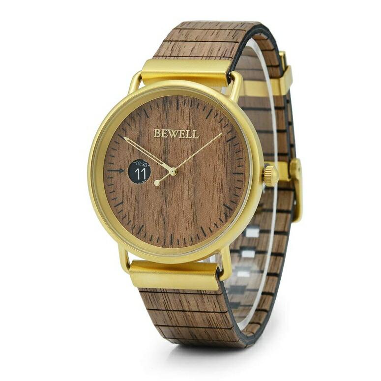 ビーウェル BEWELL ウッドウォッチ 木製腕時計 男性用 腕時計 メンズ ウォッチ ブラウン W002S-IPG-WB 送料無料 【並行輸入品】