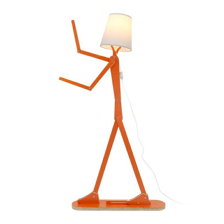 フロアランプ 電球別売 ポーズ 木製人形 HROOME Modern Contemporary Decorative Wooden Floor Lamp Light with Fold White Fabric Shade Adjustable Height Standing Light for Living Room Bedroom Office 160cm Unique Design DIY Man Lamps (Ora 送料無料 【並行輸入品】