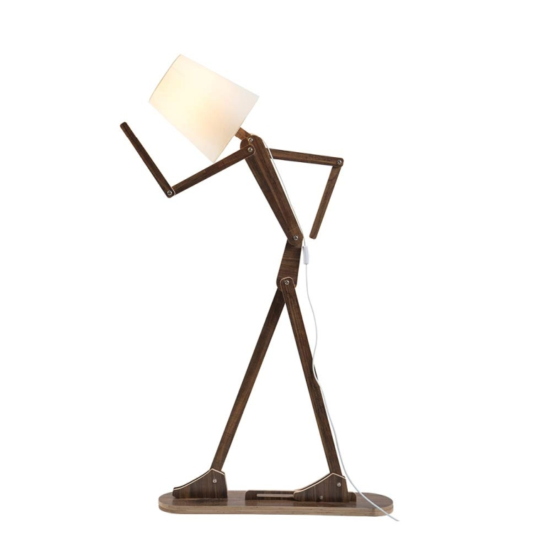 フロアランプ 電球別売 ポーズ 木製人形 HROOME Cool Tall Decorative Floor Stand Lights Adjustable Corner Floor Lamp with Shade for Bedroom Office Wooden Swing Arm Lamps (Teak) 送料無料 【並行輸入品】