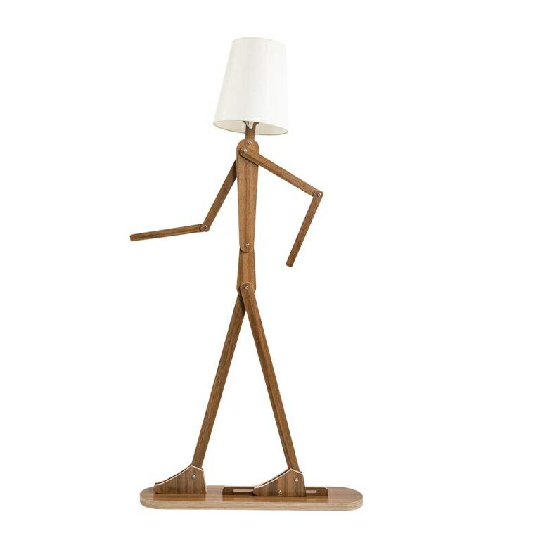 フロアランプ 電球別売 ポーズ 木製人形 HROOME Modern Contemporary Decorative Wooden Floor Lamp Light with Fold White Fabric Shade Adjustable Height Standing Light for Living Room Bedroom Office 160cm Unique Design DIY Man Lamps (Wal 送料無料 【並行輸入品】