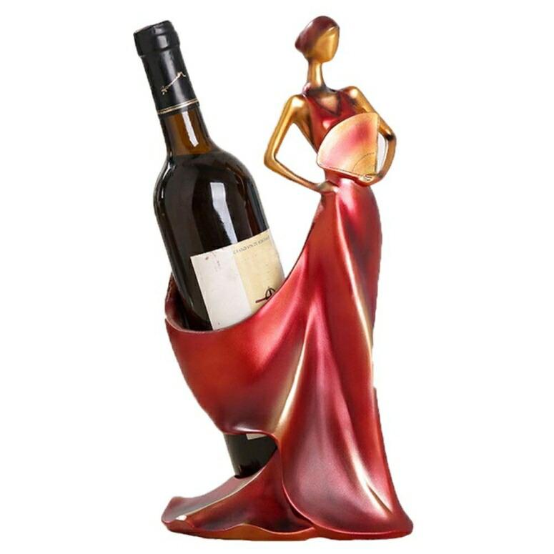 ディスプレイ ワインラック ボトルホルダー ワインホルダー ディスプレイ 卓上ワインラック Wine Holder,Tall Drink Giraffe Animal Tabletop Single Wine Accessory Bottle Holder,Women Shaped Sturdy Sculpture Wine Bottle Holders, Figurine Kitchen Decoration Crafts, 13.8