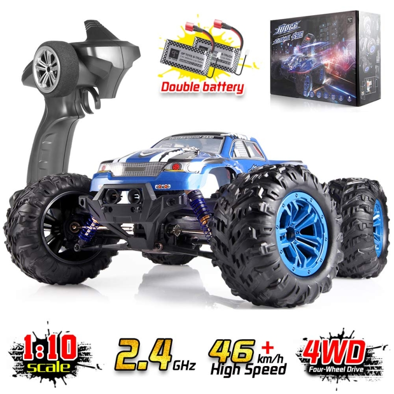 RCカー オフロードラジコンカー Soyee RC Cars 1:10 Scale RTR 46km/h High Speed Remote Control Car All Terrain Hobby Grade 4WD Off-Road Waterproof Monster Truck Electric Toys for Kids and Adults -1600mAh Batteries x2 送料無料 【並行輸入品】