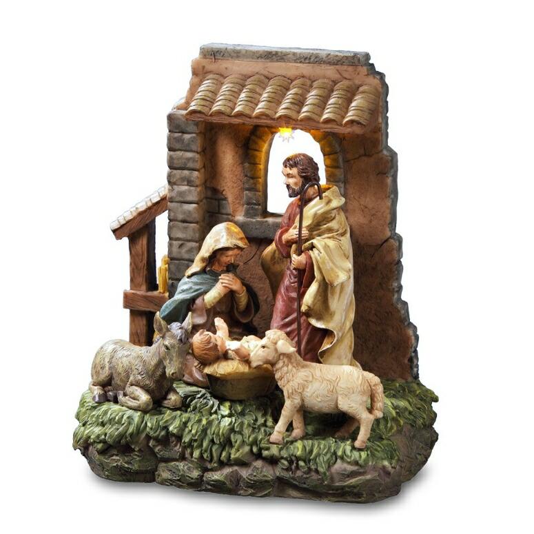 きよしこの夜 サンフランシスコミュージックボックス社 The San Francisco Music Box Company Holy Family in Stable Window Musical Nativity Figurine 送料無料 【並行輸入品】