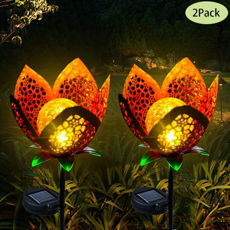 ガーデンライト LEDソーラーライト フラワー Luxbox Solar Lights Outdoor Decorative for Waterproof IP65 Garden Automatically Illuminates Working 8 Hours Yard Decoration (2 Pack) 送料無料 【並行輸入品】