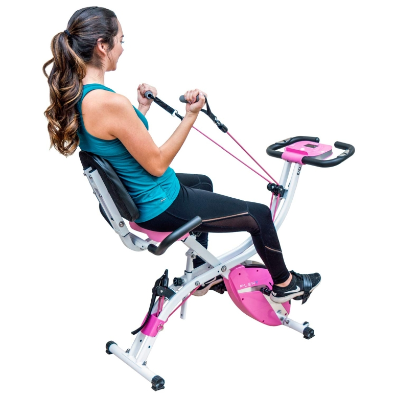フィットネスバイク トレーニング ルームバイク サイクル PLENY Premium Foldable Recumbent Exercise Bike with Adjustable Resistance Bands for Arm & Leg, Backrest and Back Handle and 3 Levels Adjustable Frame (Pink) 送料無料 【並行輸入品】