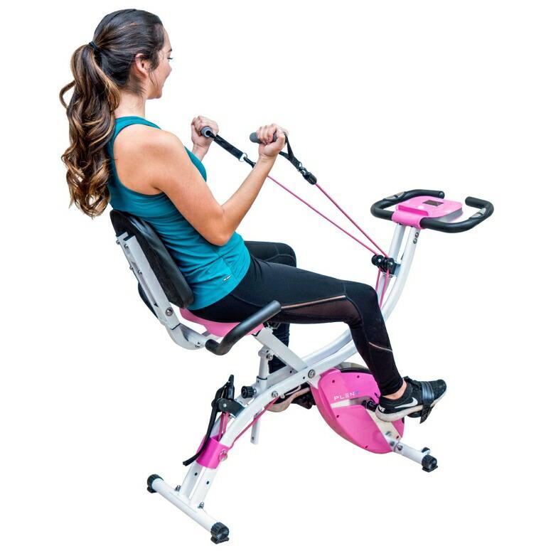フィットネスバイク トレーニング ルームバイク サイクル PLENY 3-in-1 Total Body Workout Exercise Bike w/Backlit Monitor, High Backrest, Arm & Adjustable Leg Resistance Bands and 300 lbs Weight Support (Gray) 送料無料 【並行輸入品】
