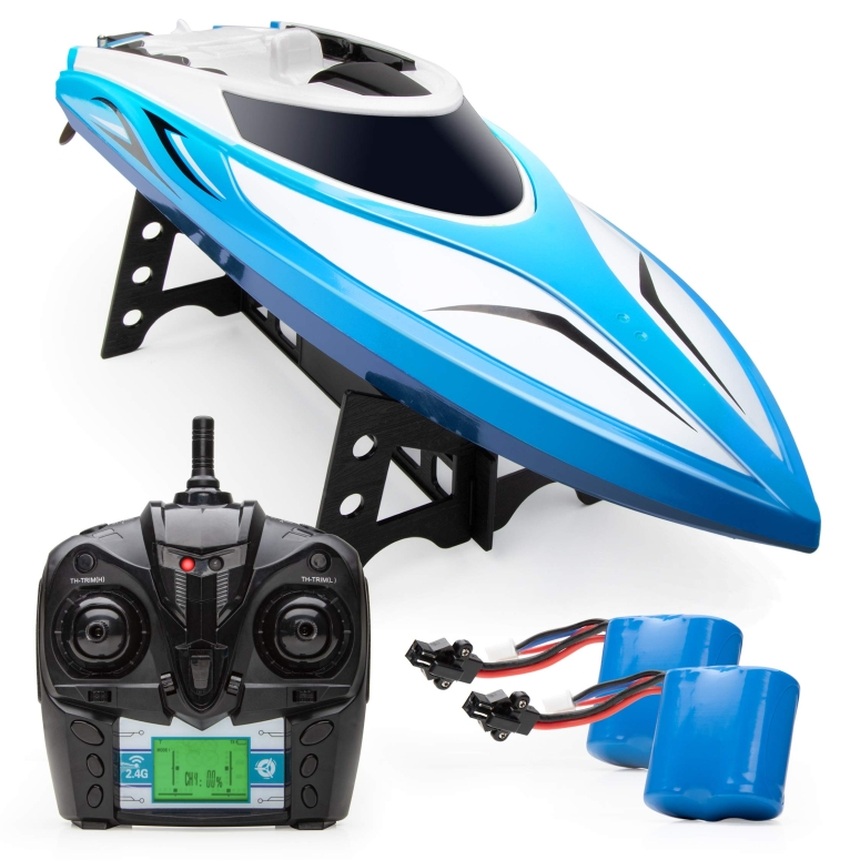 ラジコン ボート おもちゃ Force1 Velocity RC Boat - H102 Remote Control Boats for Pools and Lakes, 20+ mph High Speed Boat Toys (Blue) 送料無料 【並行輸入品】