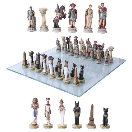チェスセット ギフト ローマ帝国 Gifts & Decors Pharaoh Egyptian Army VS Caesar Roman Empire Centurions Resin Chess Pieces with Glass Board Set 送料無料 【並行輸入品】