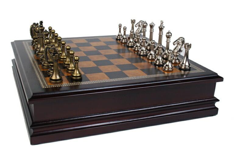 チェスセット ギフト Classic Game Collection Metal Chess Set with Deluxe Wood Board and Storage - 2.5