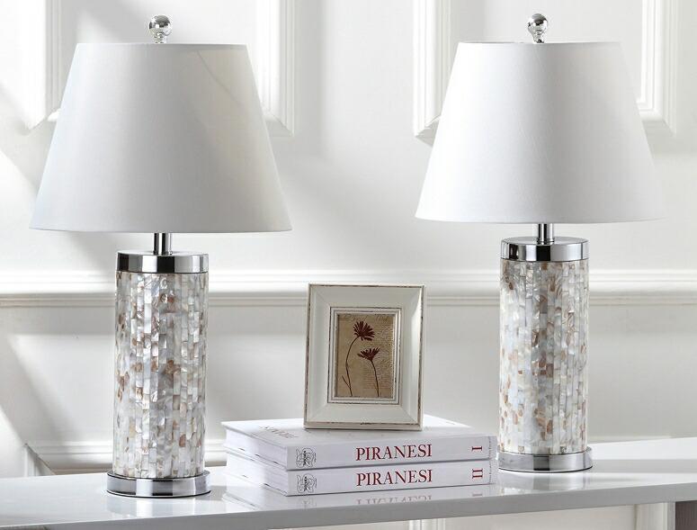 サファヴィヤ safavieh テーブルランプ サファビヤ Safavieh Lighting Collection Diana Ivory Shell 21.5-inch Table Lamp (Set of 2) 送料無料 【並行輸入品】
