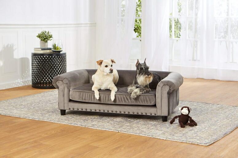 ラグジュアリー ペットソファ 高級 ペットベッド 超小型犬 小型犬 犬 ベッド ペット 犬 猫 Enchanted Home Pet Co2786-16Gry Manchester Velvet Tufted Pet Sofa in Grey 送料無料 【並行輸入品】