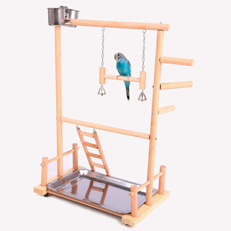 """バードアスレチック オウム ヨウム スタンド QBLEEV Parrot Play Stand Bird Gym Playground Wooden Perches with Ladders Hanging Bell Feeding Watering Cups Birdcage Toys for Cockatiel Conures Parakeets Canaries Pigeons Finches (14.17""""x9 送料無料 【並行輸入品】"""