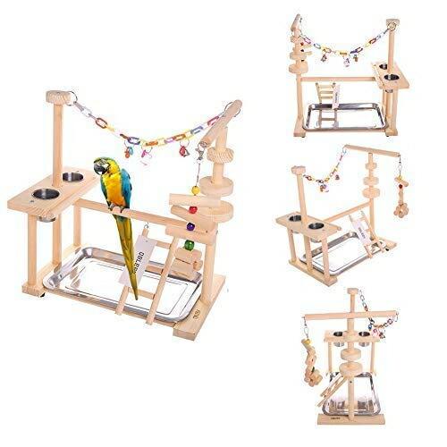 バードアスレチック オウム ヨウム スタンド QBLEEV Parrot Playstand Bird Play Stand Cockatiel Playground Wood Perch Gym Playpen Ladder with Feeder Cups Toys Exercise Play (Include a Tray) (16