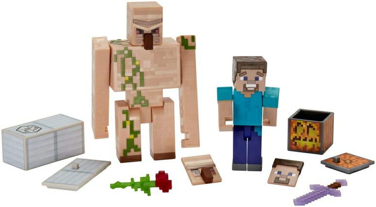 マイクラ おもちゃ スティーブ アイアンゴーレム Minecraft Comic Maker Steve and Iron Golem 2-Pack 送料無料 【並行輸入品】