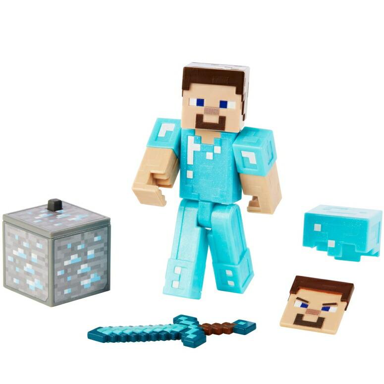 マイクラ おもちゃ スティーブ ダイヤモンドアーマー Minecraft Comic Maker Steve in Diamond Armor Action Figure, Multicolor 送料無料 【並行輸入品】