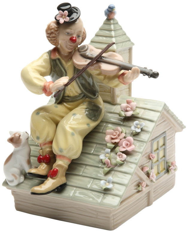 オルゴール バイオリンを弾くピエロ Cosmos Gifts 20867 Clown with Violin Musical Ceramic Figurine, 6-1/4-Inch 送料無料 Plays tune