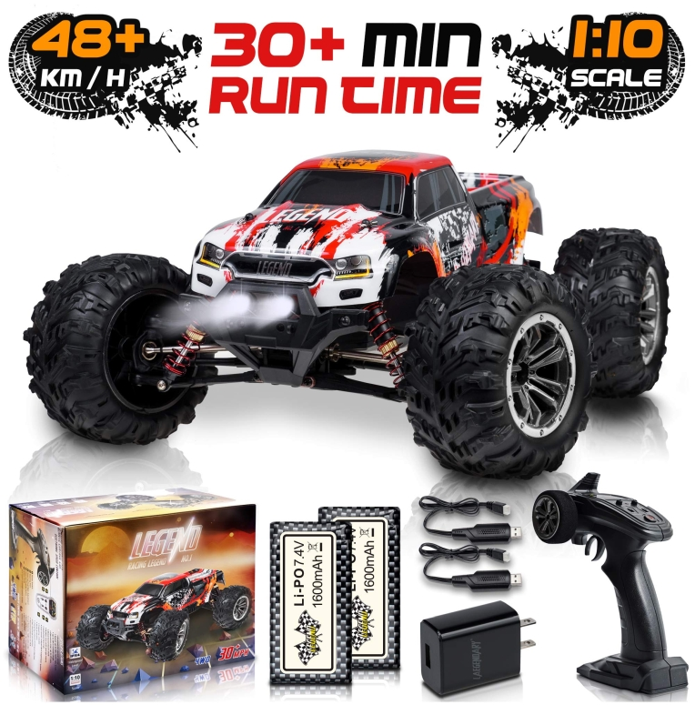 RCカー オフロードラジコンカー 1:10 Scale Large RC Cars 48+ kmh Speed - Boys Remote Control Car 4x4 Off Road Monster Truck Electric - All Terrain Waterproof Toys Trucks for Kids and Adults - 2 Batteries + Connector for 30+ Min Play 送料無料 【並行輸入品】