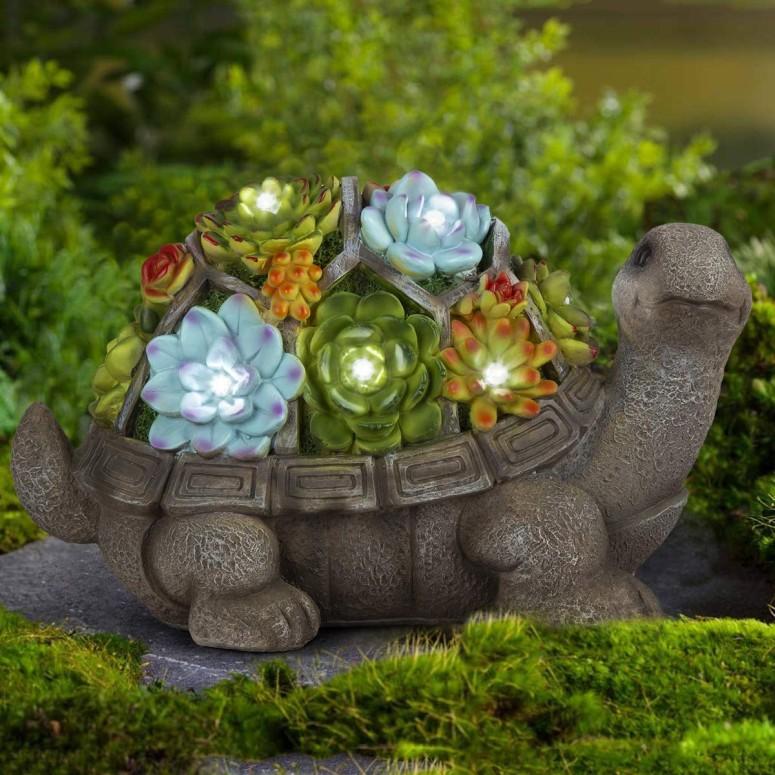ガーデンライト 亀 LEDソーラーライト GIGALUMI Turtle Garden Figurines Outdoor Decor, Garden Art Outdoor for Fall Winter Garden Decor,Outdoor Solar Statue with 7 LEDs for Patio,Lawn,Yard Art Decoration, Housewarming Garden Gift 送料無料 【並行輸入品】