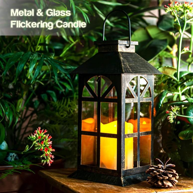 ガーデンランタン LEDソーラーライト Solar Lantern Outdoor Classic Decor Bronze Antique Metal and Glass Construction Mission Solar Garden Lantern Indoor and Outdoor Solar Hanging Lantern Entirely Solar Powered Lantern of Low Maintena 送料無料 【並行輸入品】