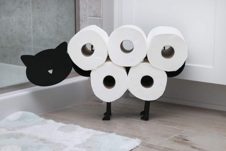 トイレットロールホルダー 猫 キャット East World Cat Toilet Paper Holder Free Standing and Wall Mount Toilet Tissue Storage Stand おしゃれ 北欧 インテリア ペーパーホルダー トイレットペーパー スタンド トイレ収納 トイレラック 送料無料 【並行輸入品】