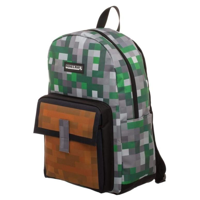 マイクラ リュック Minecraft Squares Allover Print Backpack Bookbag 送料無料 【並行輸入品】