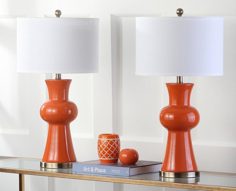 サファヴィヤ safavieh テーブルランプ サファビヤ Safavieh Lighting Collection Lola Column Orange 30-inch Table Lamp (Set of 2) 送料無料 【並行輸入品】