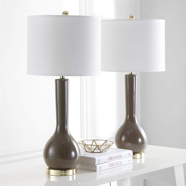 サファヴィヤ safavieh テーブルランプ サファビヤ Safavieh Lighting Collection Mae Long Neck Taupe Ceramic 30.5-inch Table Lamp (Set of 2) 送料無料 【並行輸入品】