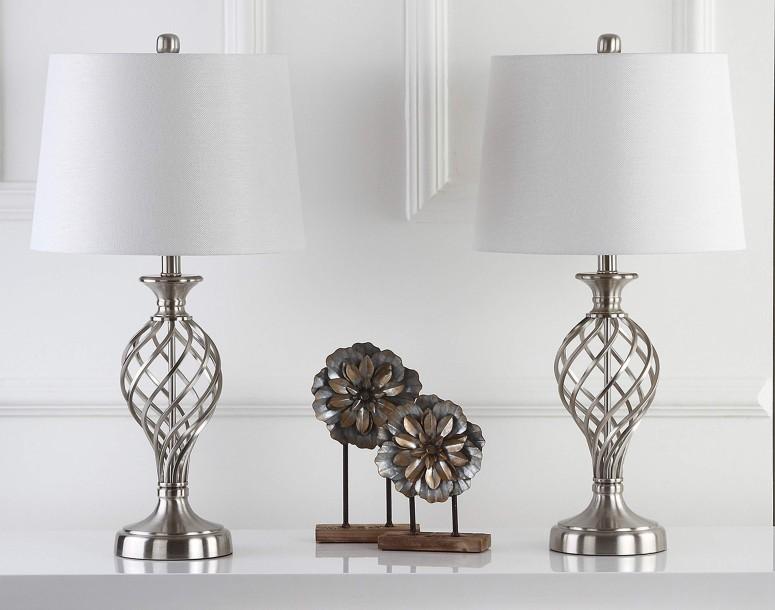 サファヴィヤ safavieh テーブルランプ サファビヤ Safavieh Lighting Collection Lattice Urn Nickel 26.75-inch Table Lamp (Set of 2) 送料無料 【並行輸入品】