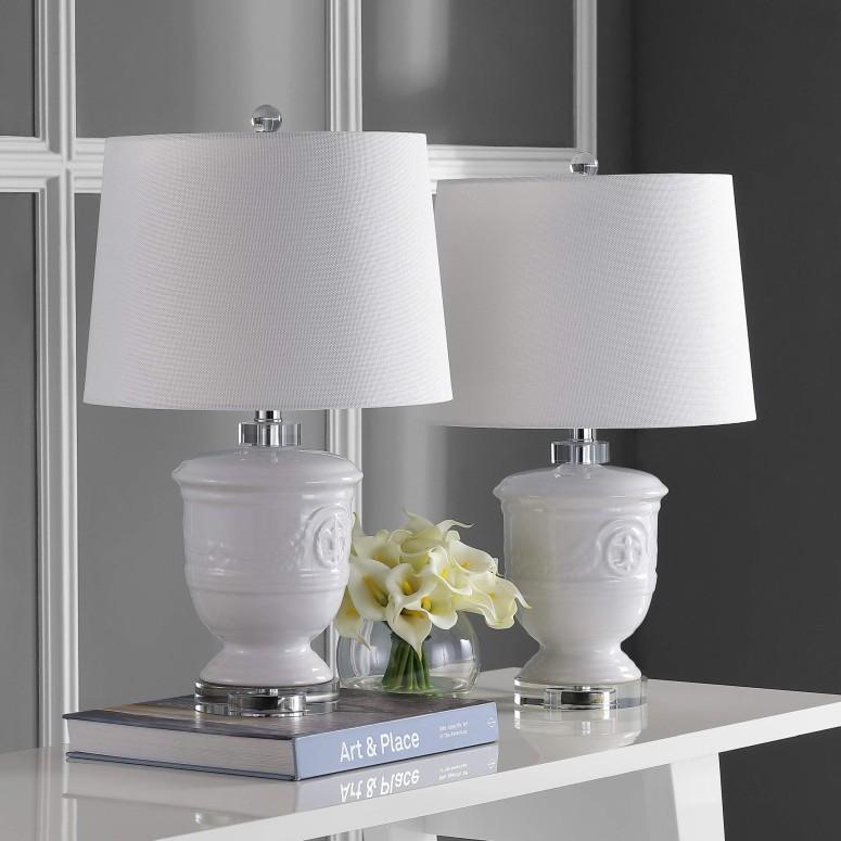 サファヴィヤ safavieh テーブルランプ サファビヤ Safavieh Lighting Collection Shoal White White 23.5-inch Table Lamp (Set of 2) 送料無料 【並行輸入品】