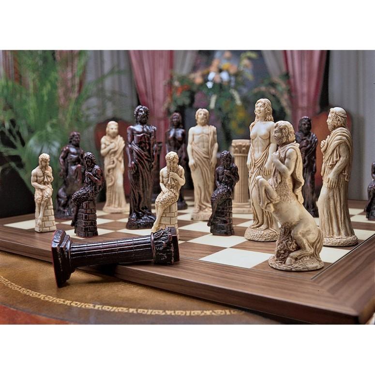 ギリシャ神話 トスカーノの神々 約15cm ゼウスとアフロディーテ Design Toscano Gods of Greek Mythology Complete Chess Set, 6 Inch, 16 Pieces and Board, Two Tone Stone 送料無料 【並行輸入品】