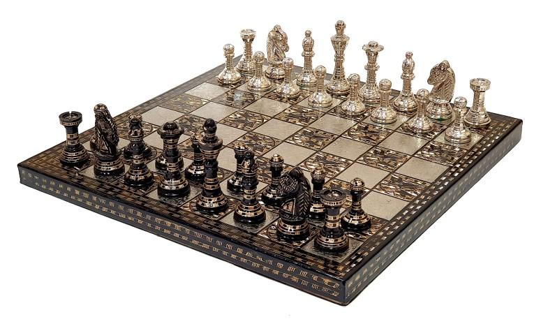 真鍮チェスセット StonKraft Brass Chess Board Game Set with 100% Brass Chess Pieces Chessmen Coins (12 x12 Inch) 送料無料 【並行輸入品】