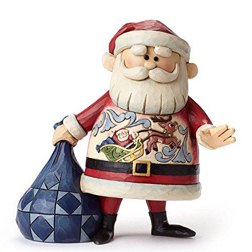 エネスコ ジム ショア サンタ ウィズ スライ シーン そりに乗った情景が服に描かれた サンタさん フィギュア 置物 7.1 インチ Santa with Sleigh Scene Figurine, 7.1