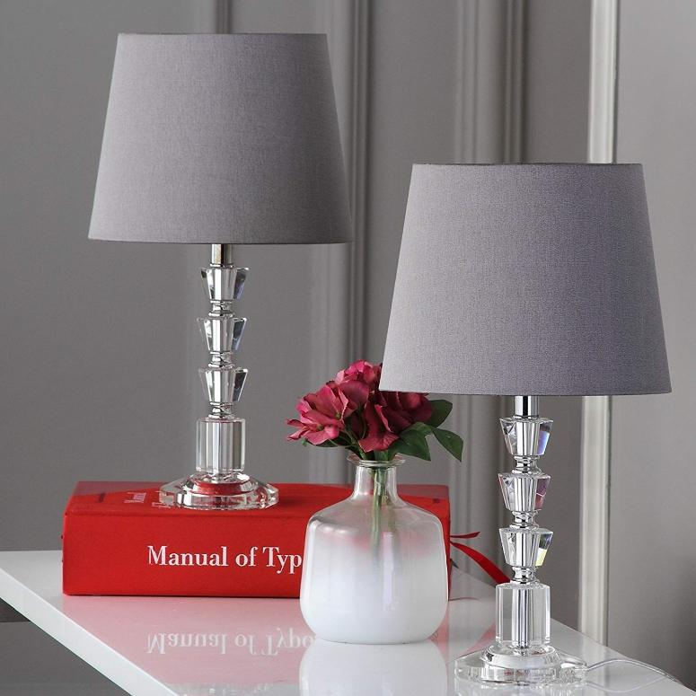 【即納】 おしゃれなデザイン テーブルランプ Safavieh Lighting Collection Harlow Clear and Grey Tiered Crystal Orb 16-inch Table Lamp (Set of 2) 送料無料 【並行輸入品】