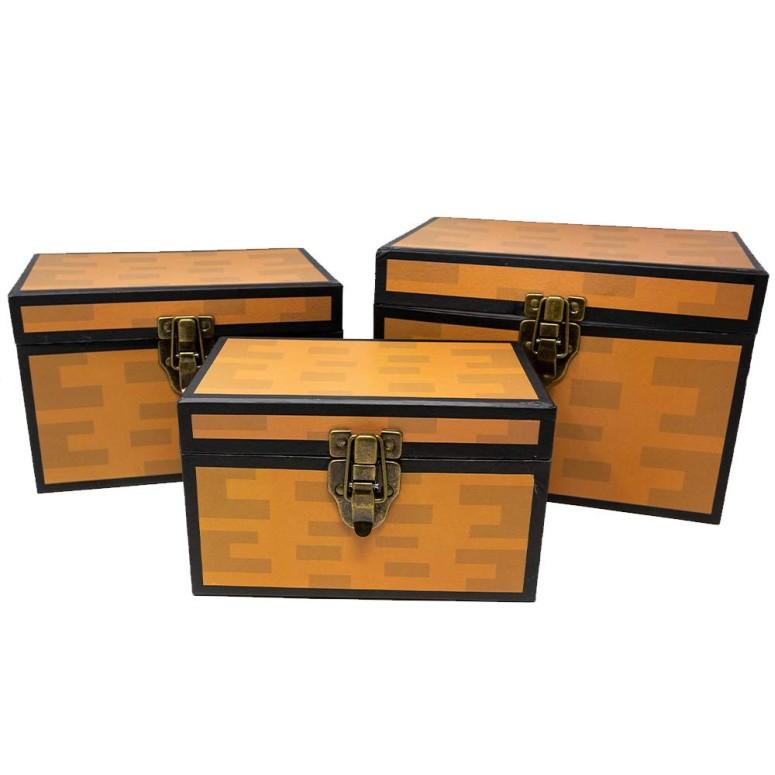 人気アイテム 【即納】 マイクラ チェスト風おもちゃ箱 Pixel Treasure Chest Paperboard Boxes (Set of 3), Decoration for Video Gamers, Birthday Parties, Mining Fun, Storage or Display sokunou 送料無料 【並行輸入品】, 東牟婁郡 f01d246d