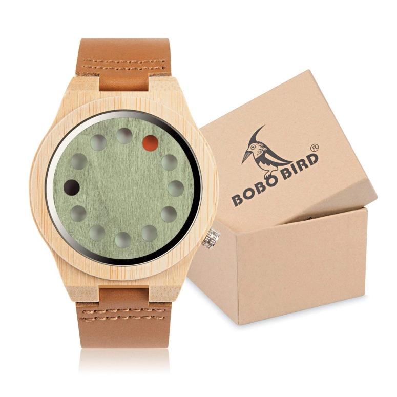 【即納】 ボボバード BOBO BIRD ウッドウォッチ 木製腕時計 男性用 腕時計 メンズ ウォッチ グリーン B-076 送料無料 【並行輸入品】