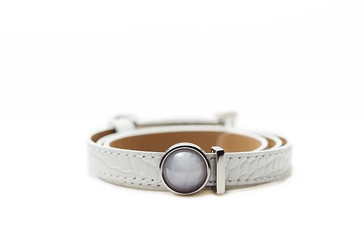 【送料無料】JOYTEC オリジナルブレスレット『feel』(ホワイト革×ラベンダー翡翠×シルバーカラー/サイズS~L対応)【Natural Jadeite and Real Leather Bracelet】