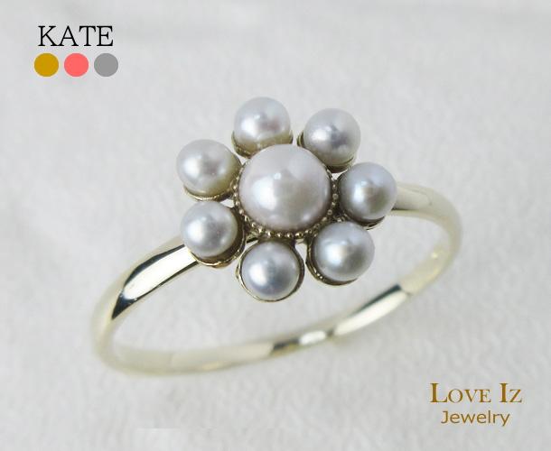 淡水パール 可愛いパールのお花のようなリング 指輪 出群 品質保証書 K10 10金 春の新作 ギフト