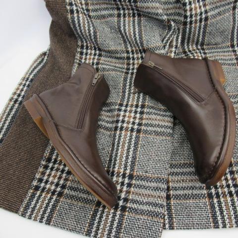 ing PLUS イングプラス 靴 シューズ レディース ブーツ 送料無料 ショートブーツ 本革 やわらか ダブルジップ 履きやすい 黒 ブラック ダークブラウン オーク 22.5cm 23.5cm 24cm
