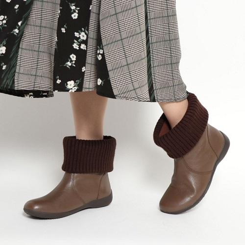 ビス セール価格 VIS 靴 シューズ レディース ブーツ 送料無料 本革 ショートブーツ 25%OFF 23cm ニット モールドソール 24cm EEE ぺたんこ 3E VIS8807
