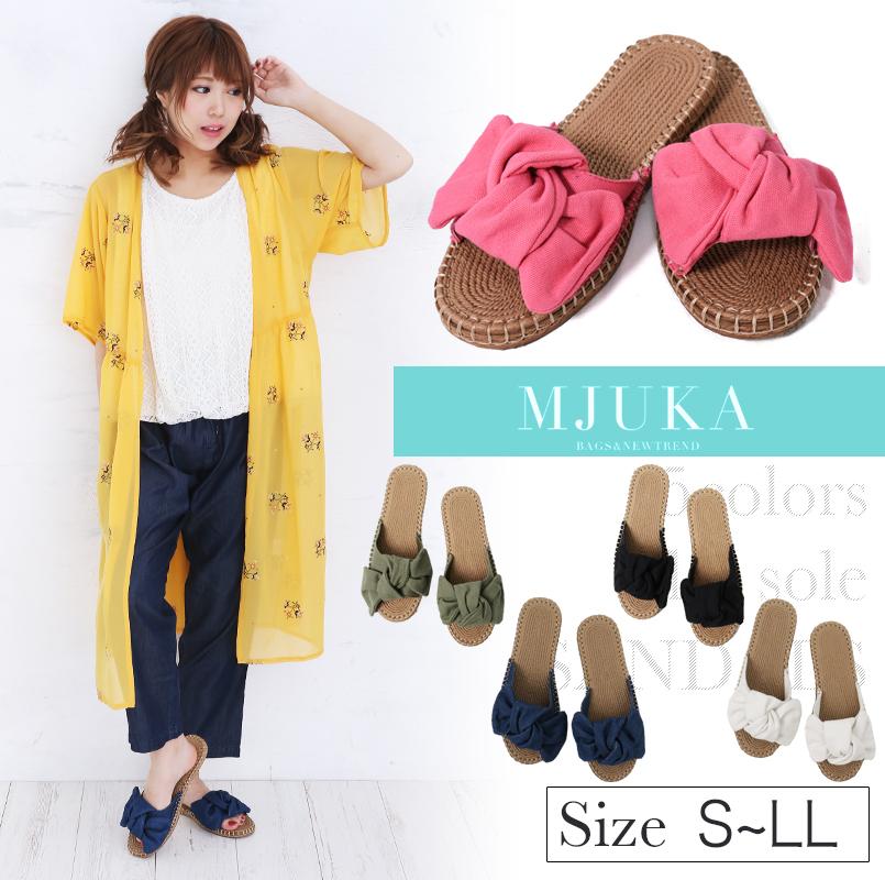 3276d5b7744 mjuka  A lady s sandals ribbon sandals S M L LL size jute style ...