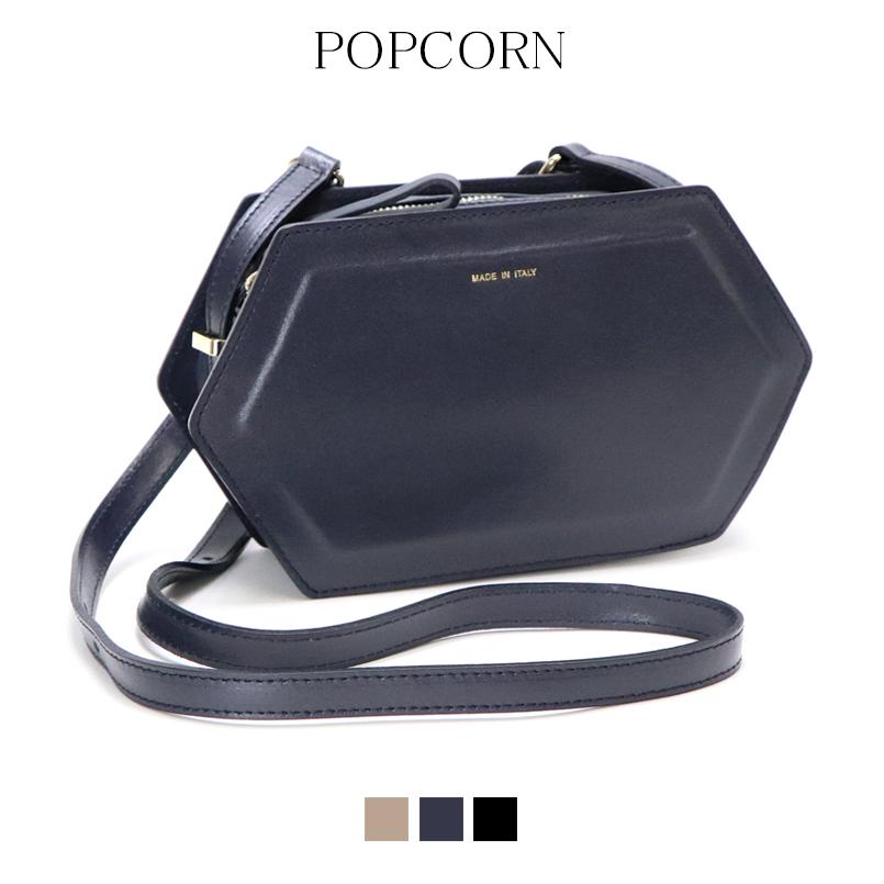 【送料無料】 POPCORN ポップコーン イタリア イタリアバッグ 本革 ショルダー 個性的 上品 シンプル 正規品 六角 高級感