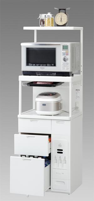 エムケー精工 レンジ台 60幅「キャビー」CBU-238W(キッチン収納・米びつ付)
