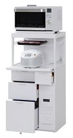 エムケー精工 レンジ台 60幅「キャビー」CB-338W(キッチン収納、米びつ付・米収納量=12kg)