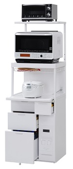 エムケー精工 レンジ台 60幅「キャビー」CBU-338W(キッチン収納、米びつ付・米収納量=12kg)
