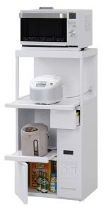 エムケー精工 レンジ台 60幅「ファインキッチン」SK-306W(キッチン収納、米びつ付・米収納量=12kg)