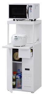 エムケー精工 レンジ台 50幅「ファインキッチン」SK-311W(キッチン収納、米びつ付・米収納量=12kg)
