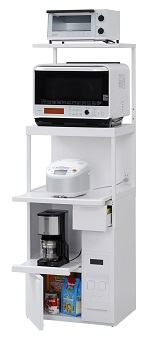 エムケー精工 レンジ台 60幅「ファインキッチン」SKU-306W(キッチン収納、米びつ付・米収納量=12kg)