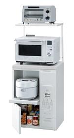 エムケー精工 レンジ台 60幅「ファインキッチン」KLS-06W(キッチン収納、米びつ付・米収納量=20kg)