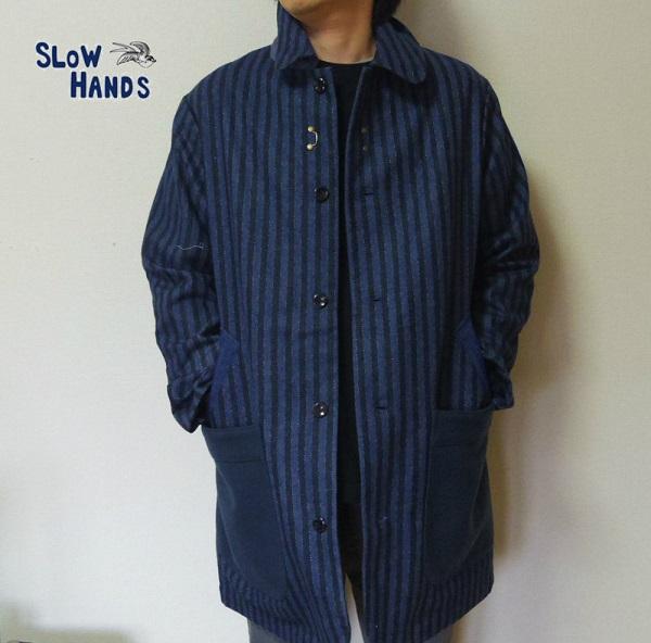セール Slow Hands ストライプコート ロングコート ウールジャケット Mサイズ メンズ レディース ユニセックス SJ4 stripe